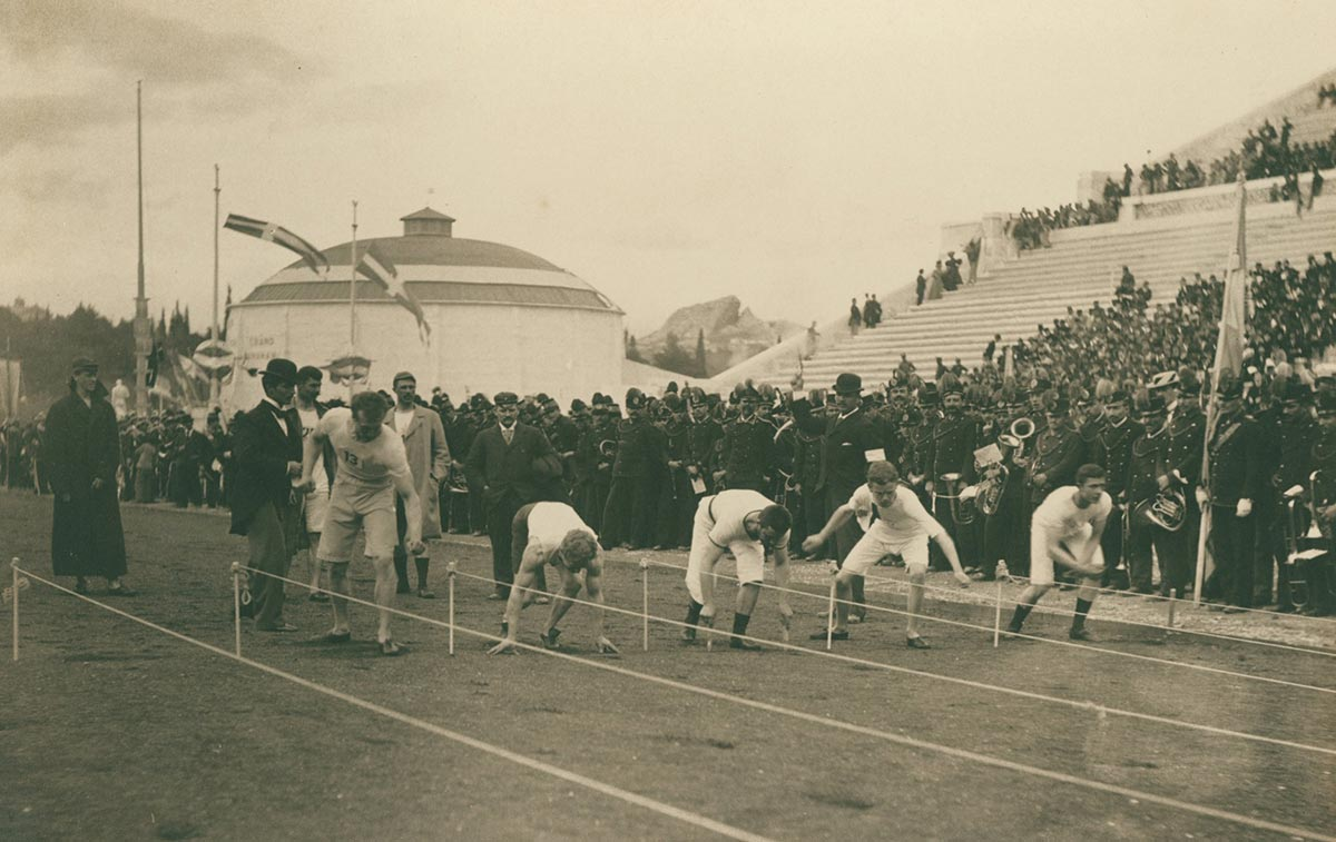 Athletes prepare for the 100 metre sprint, 1896 Olympics.