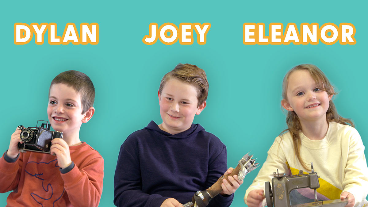Promotional image of children Dylan, Joey and Eleanor holding museum objects. - click to view larger image