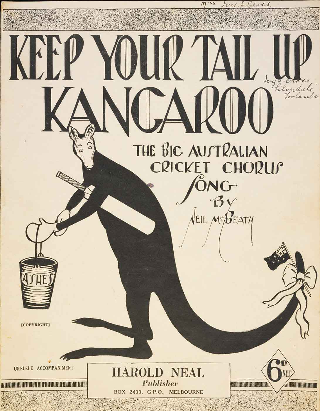 Black and white cover image showing a cartoon kangaroo wearing boxing gloves and carrying a bucket with 'Ashes' written on it. The kangaroo has a cricket bat tucked under his arm and an Australian flag tied to this tail. 'Keep Your Tail Up Kangaroo' is printed at the top of the page, followed by 'The Big Australian Cricket Chorus Song by Neil McBeath'. - click to view larger image