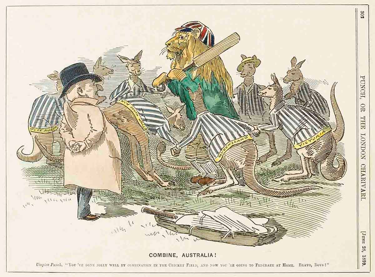 Cartoon showing eight kangaroos, wearing striped jackets with the name of the Australian states across the bottom, surounding a lion dressed in a Union Jack cap and holding a cricket bat over his shoulder. Umpire Punch, wearing a cream-coloured dust jacket and black hat stands beside the group. A bag of cricket gear appears in the foreground. - click to view larger image