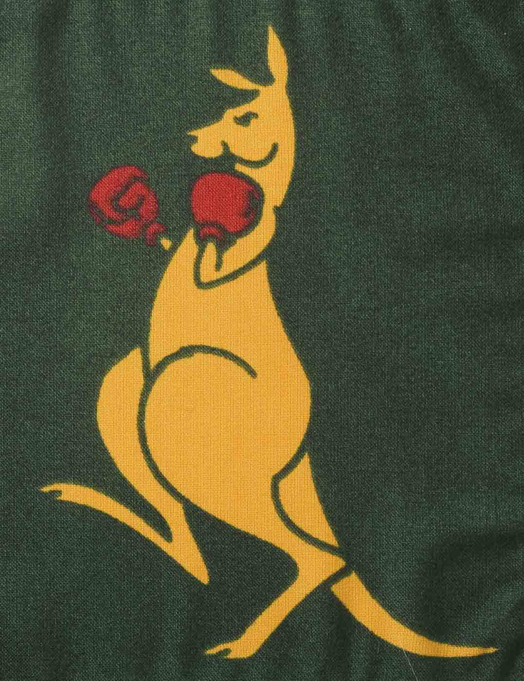 A dark green flag with a caricature of a yellow kangaroo wearing red boxing gloves. - click to view larger image