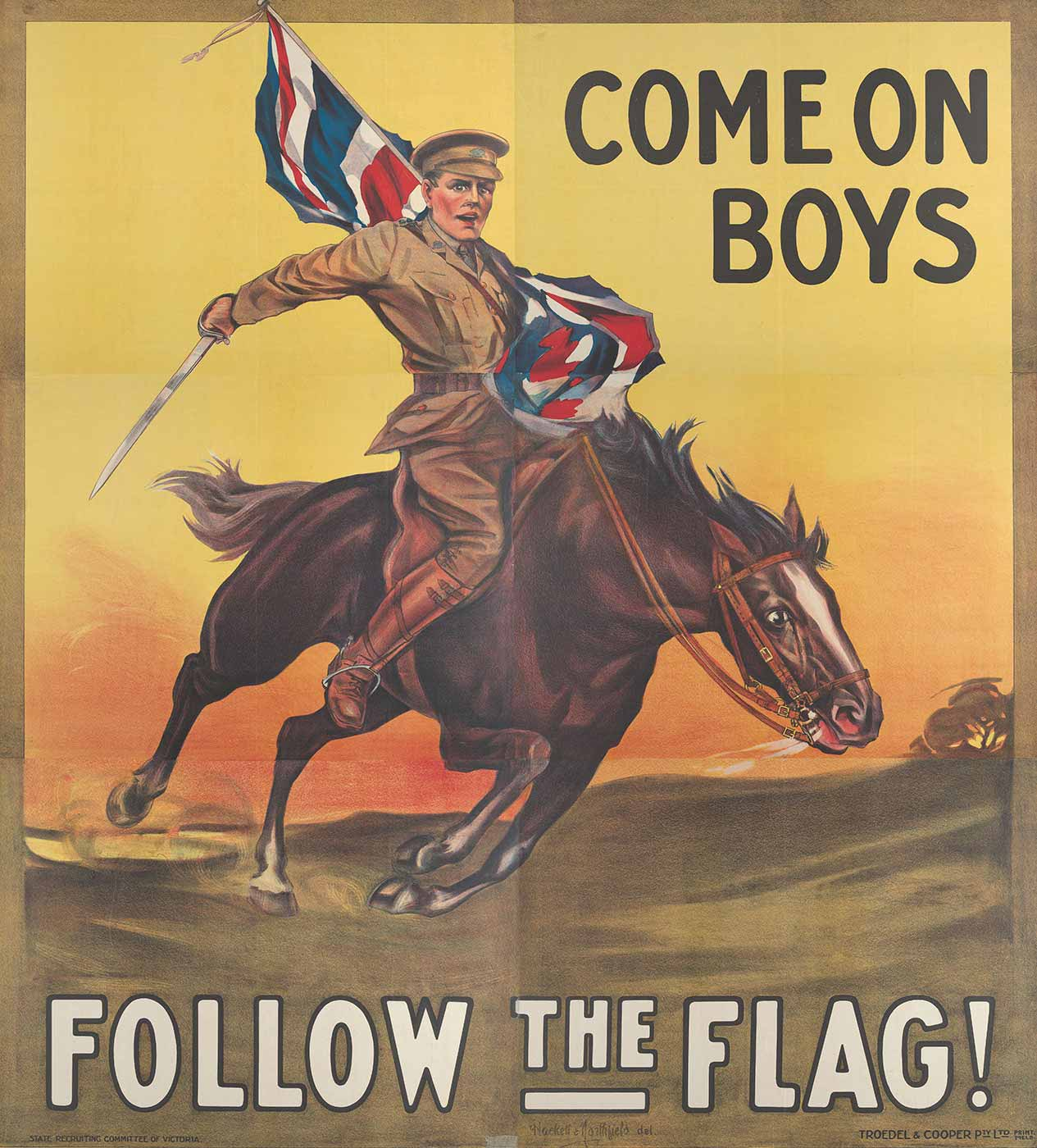 A poster showing a soldier riding a horse. The soldier holds a flag in his right hand and a drawn sword in his left. The text reads 'COME ON BOYS. FOLLOW THE FLAG!' - click to view larger image