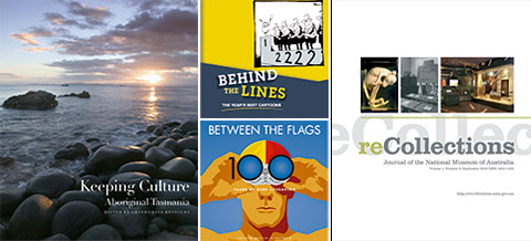 Individual images of the front covers of the Keeping Culture (left), Behind the Lines (centre top), Between the Flags (centre bottom) and reCollections (right) publications.