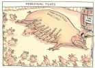 Cartoon of a sow resembling John Howard and labelled 'Pre-election war chest' about to be inundated by piglets eager to suckle. The teats are marginal seats and the sow lies beside a pork barrell.