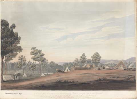 Colour drawing showing, showing tents and bushland.