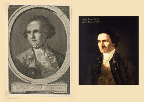 Left: Engraving of Captain James Cook by James Basire in 1777. Right: Portrait of Captain James Cook by artist William Hodges in about 1775.