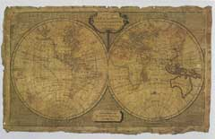 An unfinished embroidery featuring the Laurie and Whittle world map of 1798 printed onto silk