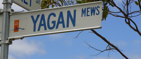 Street sign in a Perth suburb that reads, 'Yagan Mews'