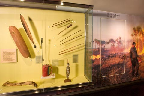 Display highlighting the different ways in which Aboriginal people made fire.