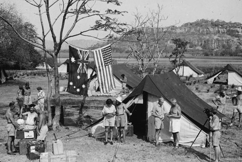 The expedition posed at a campsite at Gunbalanya (formerly Oenpelli), in 1948.