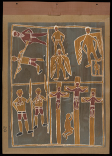 The crucifixion of Jesus as told by the Aboriginal people at Yirrkala by Mawalan Marika. Painting on paper, 1948.