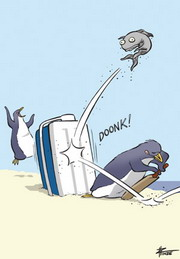 A cartoon of two penguins playing cricket on the beach, using a fish as a ball and an esky as a wicket.