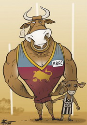Cartoon of a giant, muscly Mallee bull and a tiny calf standing on a football field in AFL jerseys.