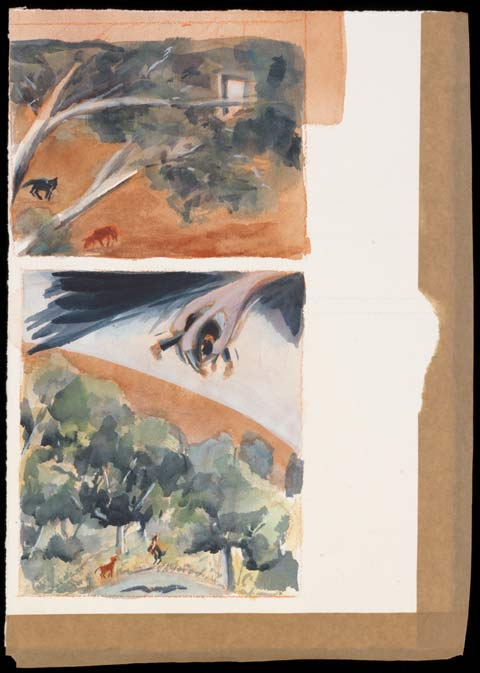 A painting, divided into two panels, depicting a bush scene with two dogs foraging on the ground, and a bird's talons holding a small human figure high above.