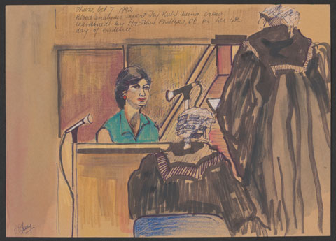 Courtroom scene showing a seated woman, wearing a sleeveless green shirt and red earrings, giving evidence. Two figures in wigs and black robes face the woman. One is seated, the other standing.