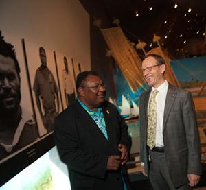 Torres Strait Mayor Pedro Stephen & Director Andrew Sayers.