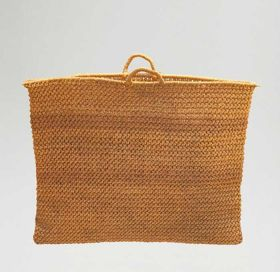 Basket made of plant fibre, rectangular in shape with two small handles.