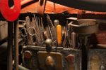 A colour photograph of a tool compartment on the Saw Doctor's wagon that contains a variety of steel files.