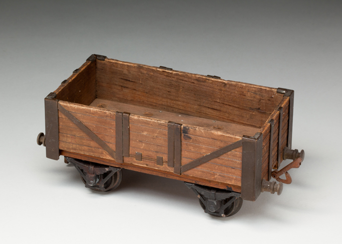 New South Wales Railways four-wheel open wagon made of wood with turned brass wheels by William Christie