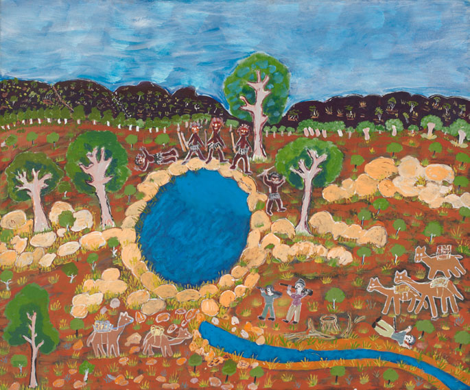 A painting on canvas depicting a central waterhole beyond which there are five figures holding spears with one lying on the ground with a wound in his chest. Below to the right there are two more figures aiming guns at this group and behind them a figure lying on the ground with a spear protruding from his body. - click to view larger image