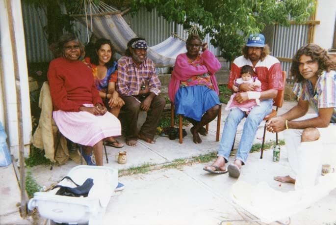 Deb with her mum (far left) and her brothers and sister-in-law in Alice Springs