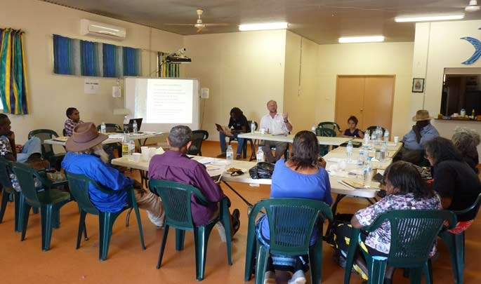 Michael Pickering speaking with the Kimberley Aboriginal Law and Culture Centre, Beagle Bay 2012