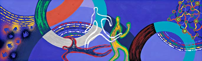 A gouache painting on paper. The design features the silhouettes of three central figures in various positions, in white, red and black, and yellow and green. There are two circles, one teal blue and black, one white, green and orange. There is a group of handprint on the left. The background is purple. The text 'Balarinji' is handwritten in pencil on the right hand side of the lower edge of the painting.