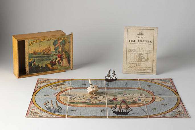 A hand-coloured lithographic playing board made of eight paper sections mounted on linen.