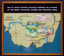 A lightbox depicting key locations in the Snowy Mountains Hydro-Electric Scheme