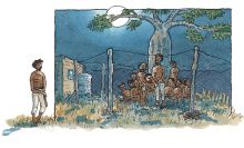 An illustration of a group of men behind a wire fence.  Jandamarra stands outside the fence, looking at the men.