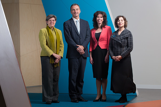 The National Museum of Australia's executive management group (left to right): Dr Janda Gooding, Dr Mathew Trinca, Stephanie Bull and Helen Kon