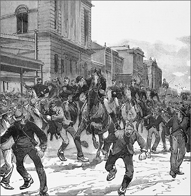 Drawing of men running among police on horseback. Wooden buildings in background.