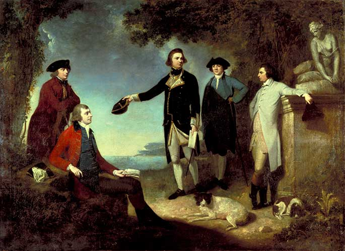 The five men are posing in countryside near an ocean. Sandwich is leaning against a classical statute. Solander and Banks are resting on a rock. Cook, centre, is in uniform gesturing at the sea