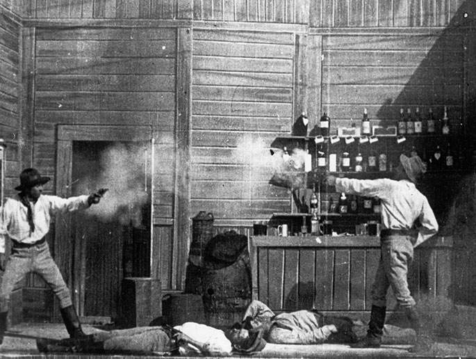 A shooting duel scene from an old black and white movie