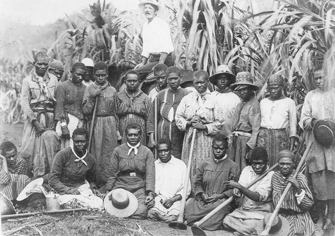 About 20 women posing in front of cane, holding their cane-cutting tools. A white man is also present.