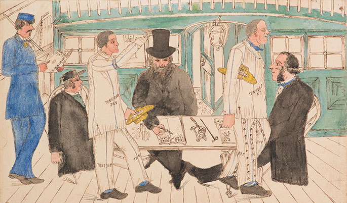 convicts walk past a desk, possibly on the deck of a ship, where men in frock coats sit