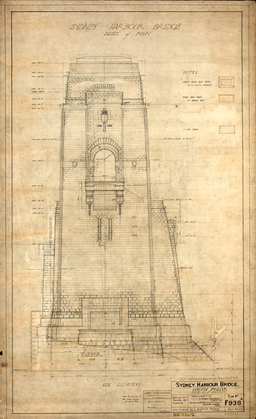 Detailed elevation plan showing a large tower with an archway in the middle at the level of the bridge's deck.