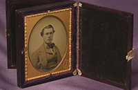 Ambrotype of a portrait of a man wearing 1850s clothing