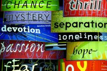 Montage of neon signs with text in various colours and fonts reading: 'chance, thrill, mystery, devotion, fear, separation, joy, loneliness, hope, passion'.
