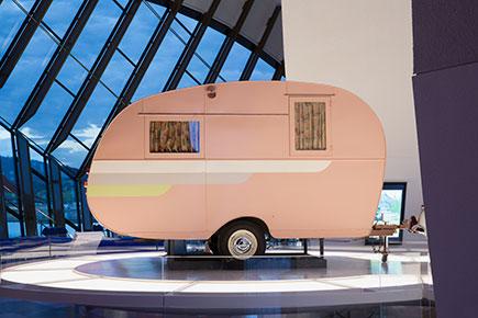 Vintage pink caravan on display
