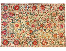 An embroidered textile hanging made from cotton, multicoloured silk thread with silk edging