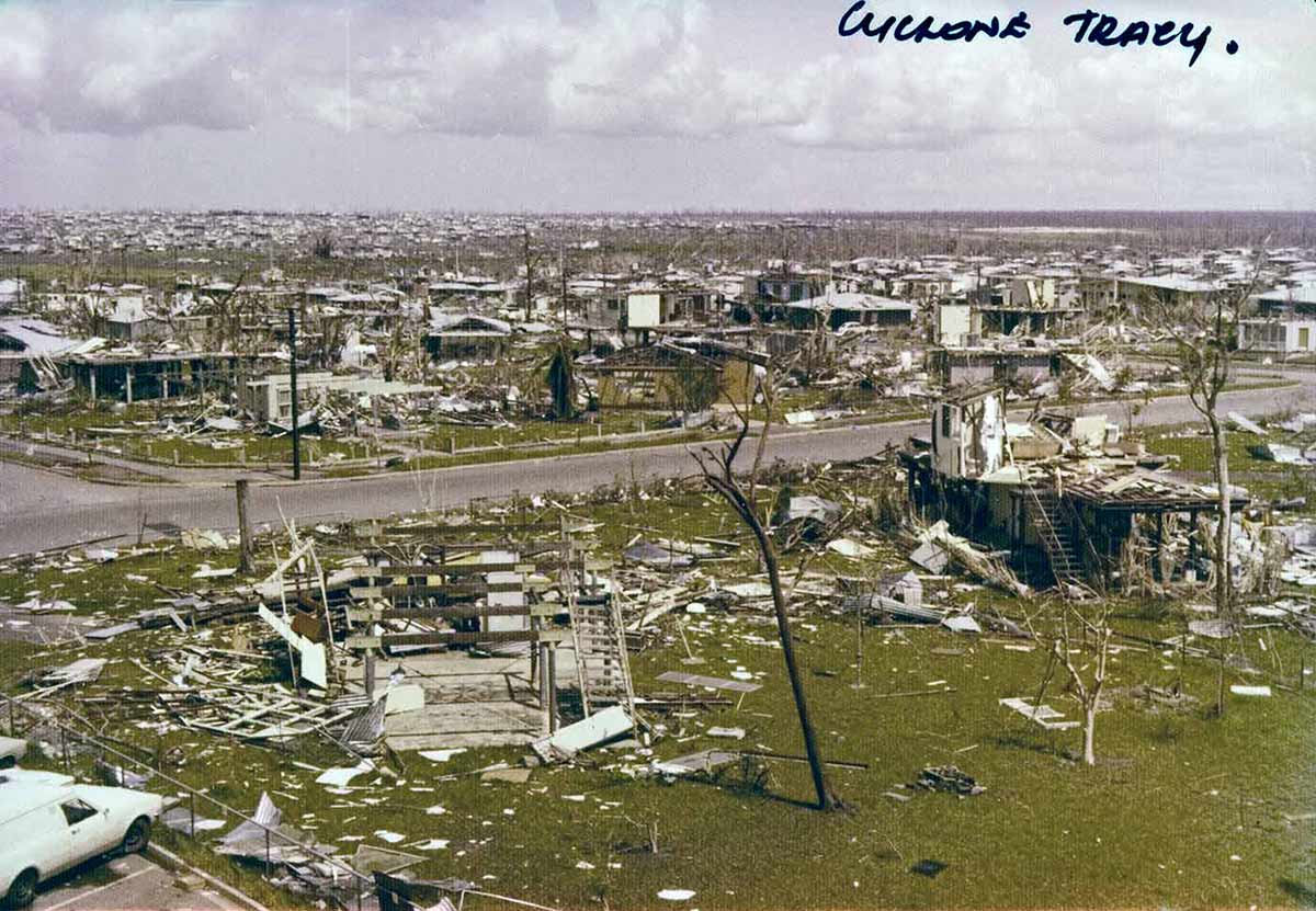 A image of the Darwin suburb of Wagaman after being destroyed by Cyclone Tracy.