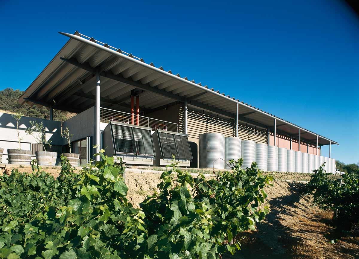 New building made of corrugated metal with slanting roof and a series of tanks at its front. Vineyards are visible in the foreground.