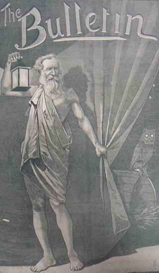 Cover of <em>The Bulletin</em>, vol. 7, no. 347, 25 September 1886. National Museum of Australia.