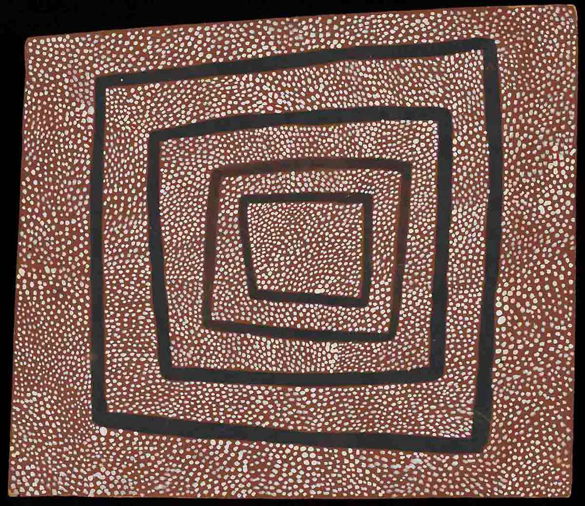 A painting of white dots on a brown surface, with four black irregular-shaped squares extending from the centre. - click to view larger image