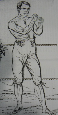 Sketch of William Sparkes with his fists raised in a fighting pose.