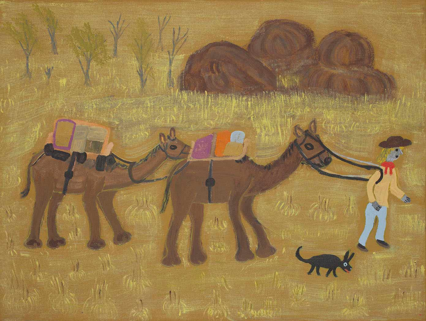 Image of an acrylic painting on canvas showing a person leading two camels, against a predominantely yellow background, with trees and large rocks in the background. A small animal runs alongside the person.