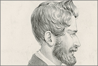 charcoal drawing of a bearded man in a frock coat in profile