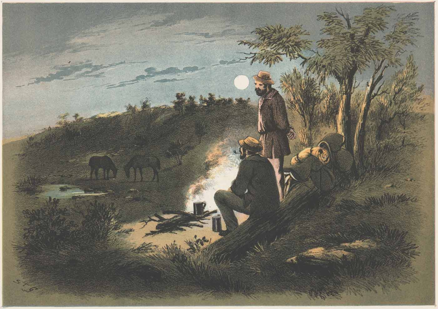 Watercolour painting of two men sitting and standing around a campfire at night with their swags beside them. In the distance are their two horses feeding on the grass. - click to view larger image