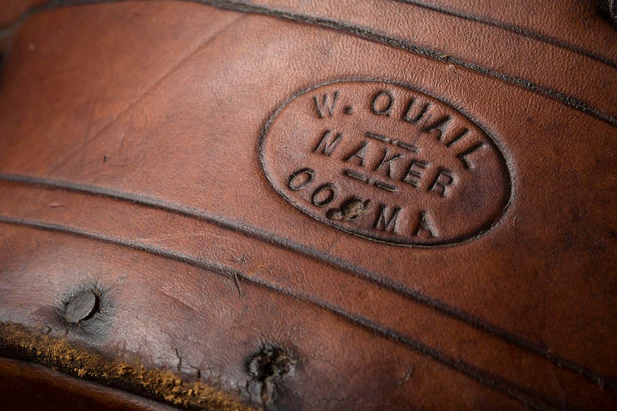 Quail's Saddlery maker's mark on a backsaddle, around 1930 - click to view larger image